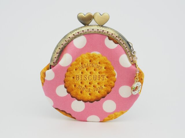 気持ち華やぐがま口ポーチ☆(小)(口金8.5センチ)クッキー柄の画像1枚目