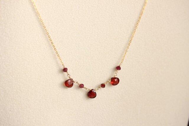 宝石質ガーネットのネックレス【K14gf】の画像1枚目