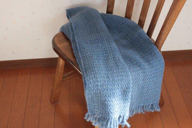 【手紡ぎ・手織り】ウール ショール 水面の画像1枚目