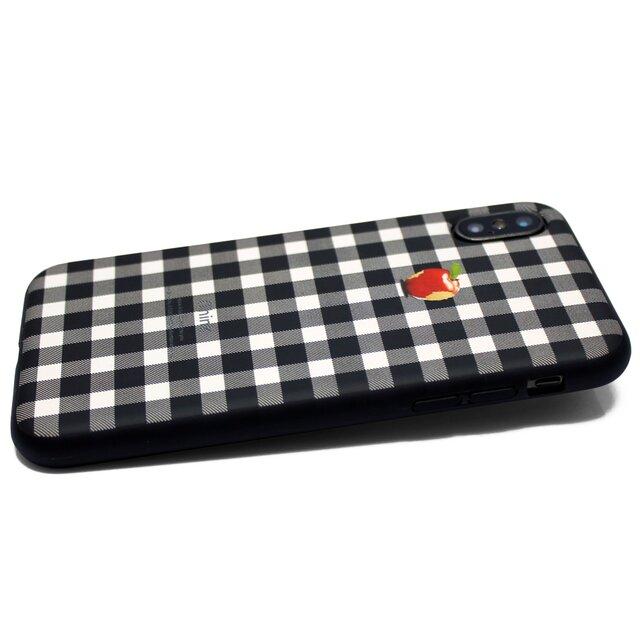 070d572fde iphoneXケース/iphoneXsケース 軽量レザーケースiphoneXカバー アップル 赤リンゴ シェパードチェックの