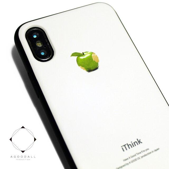 iphoneXケース/iphoneXsケース 軽量レザーケースiphoneXカバー(ホワイト×ブラック)アップル青リンゴの画像1枚目