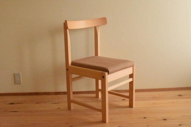 ヒノキの椅子 座面の帆布 薄茶色の画像1枚目