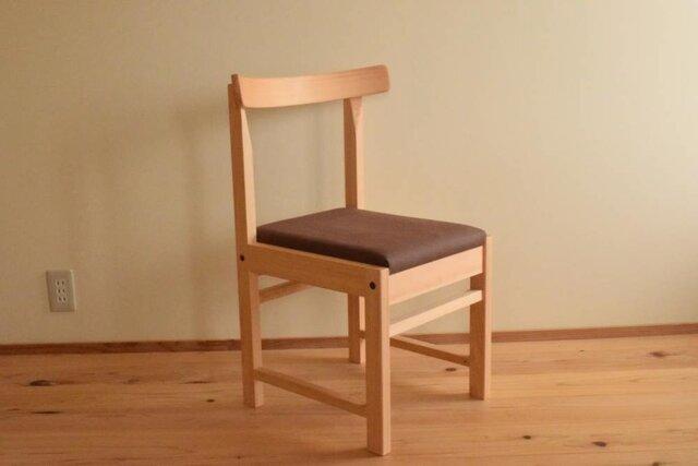 ヒノキの椅子 座面の帆布 焦茶色の画像1枚目