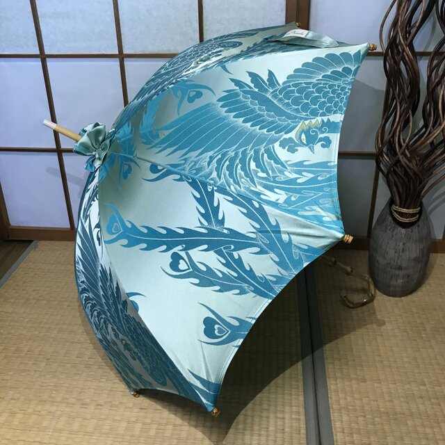 日傘 de 着物 水色鳳凰の画像1枚目