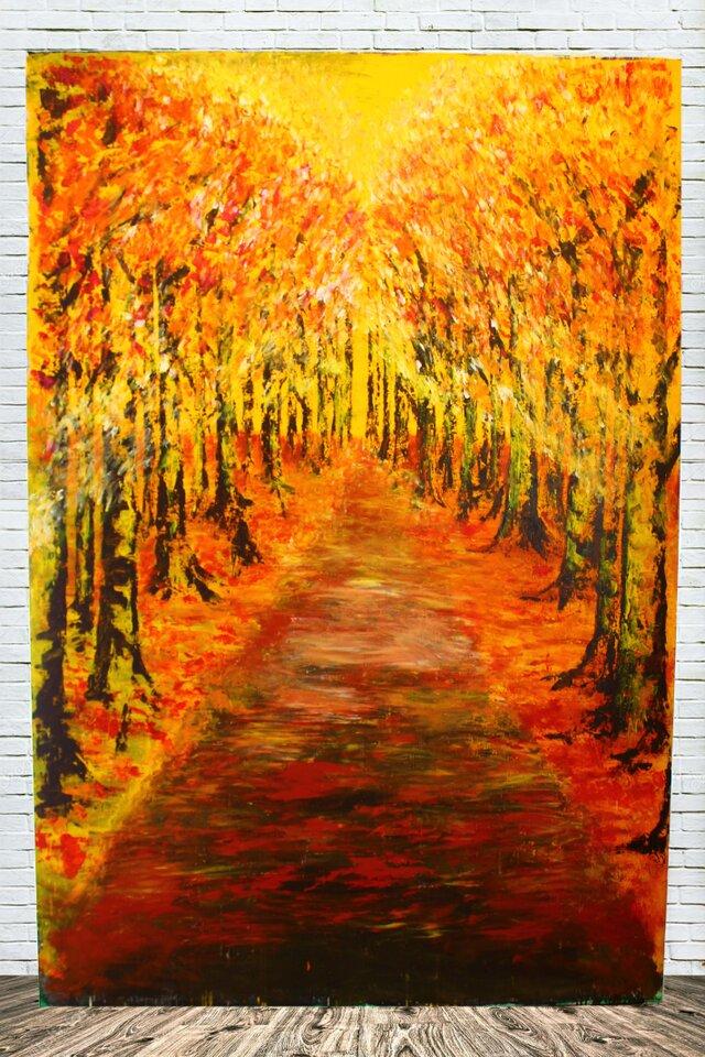 『未来への道』キャンバス原画(送料込み) アートパネル 木 こもれび 秋 紅葉 オレンジ 森林 自然 風景の画像1枚目
