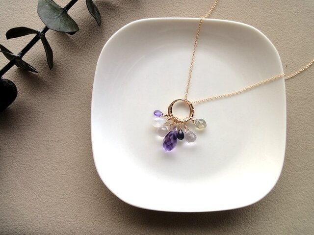 Necklace■Amethyst Twistdrop × a la carte■14KGFの画像1枚目