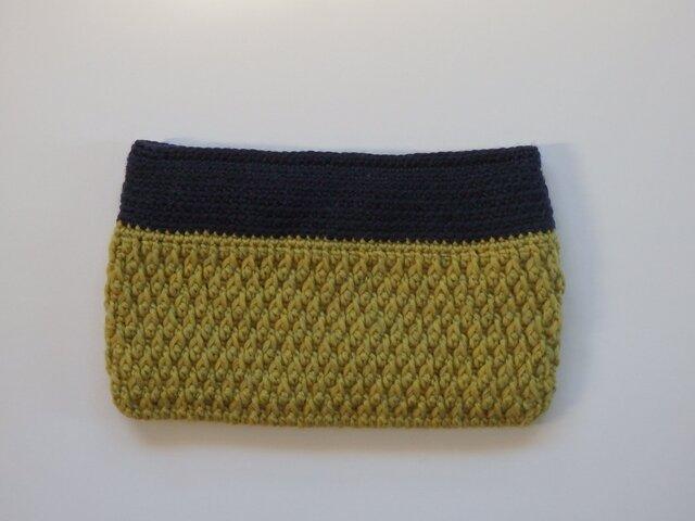 毛糸のフラットポーチの画像1枚目