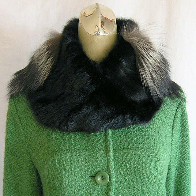 ¶ new antique fur ¶ ダーク(ほぼ黒)ミンク&シルバーフォックスnejiriスヌード「ardro」の画像1枚目