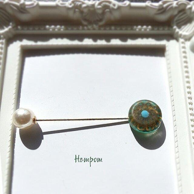 【送料無料】ヴィンテージフラワー風のハットピン ホムポムの画像1枚目