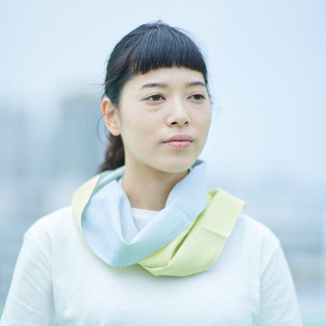 てぬぐい Oo[ワオ] Yellow × Gray 【Sサイズ】の画像1枚目