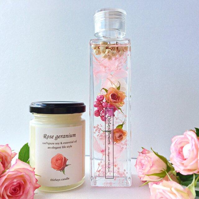エレガントギフト rose candle & ハーバリウム elegantの画像1枚目