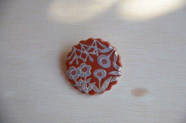 赤銀彩 たのしいじかん 陶ブローチの画像1枚目