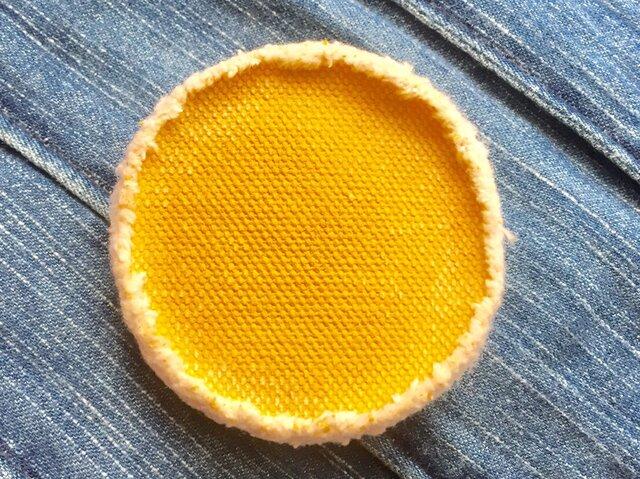 6.5cm 帆布ブローチ yellow イエローの画像1枚目