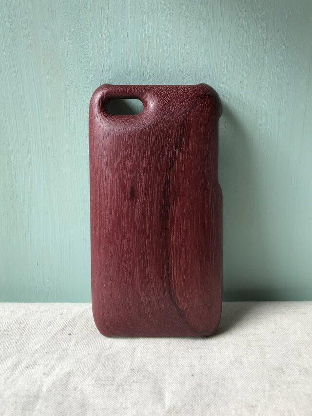 【受注制作】木製iPhoneケース(パープルハート・木目入り)の画像1枚目