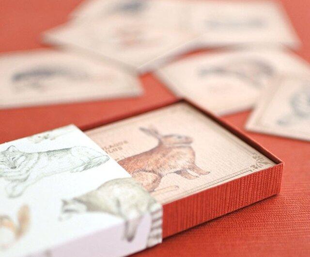 森の動物たちの小さなメッセージカードBOXの画像1枚目