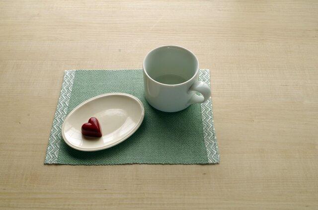 手織りリネン ティーマット グリーンの画像1枚目