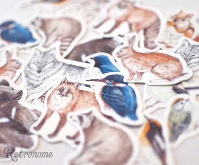 森の動物たちのフレークシールの画像1枚目