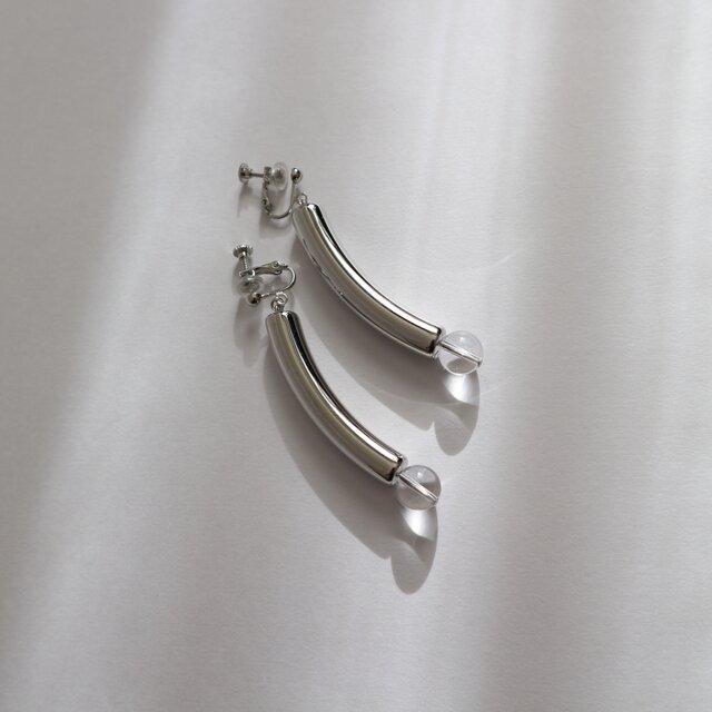 Metal long earring(pierce)~SILVER~の画像1枚目