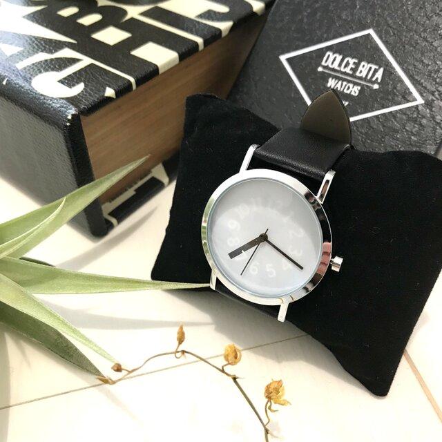 クリエイティブデザイン*隠し文字盤腕時計 white×black <g-016>の画像1枚目