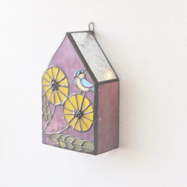 黄色い花に鳥 壁掛けランプの画像1枚目