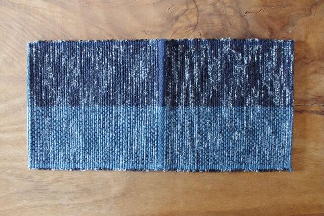 青色 two tone 木綿 裂き織ティーマットの画像1枚目