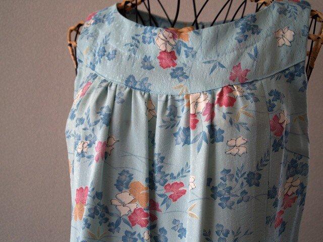 着物リメイク:水色小紋のワンピースの画像1枚目