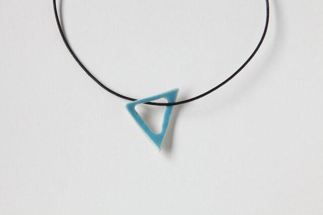陶のペンダント triangle トルコブルーの画像1枚目