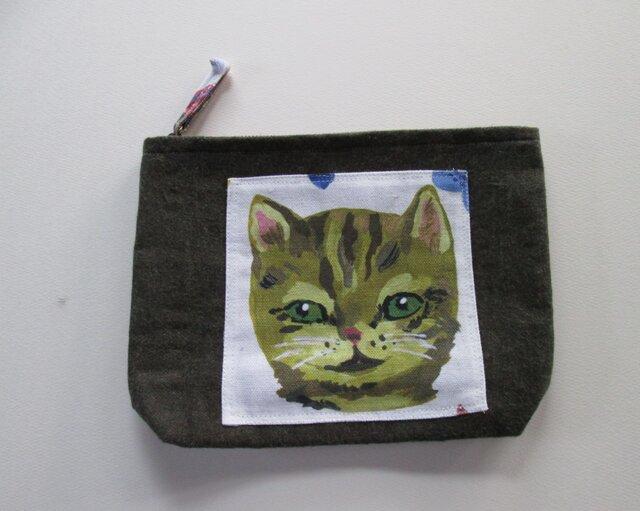 グリーンアイのネコちゃんのポーチの画像1枚目