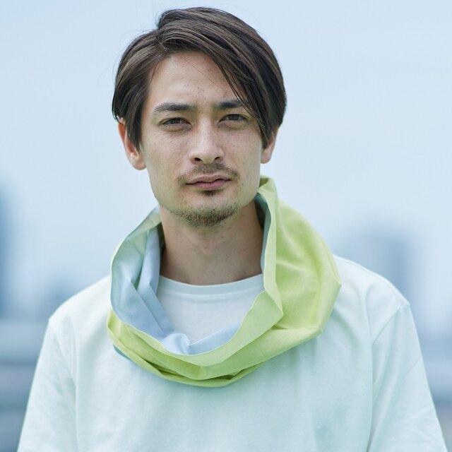 てぬぐい Oo[ワオ] Yellow × Gray 【Lサイズ】の画像1枚目