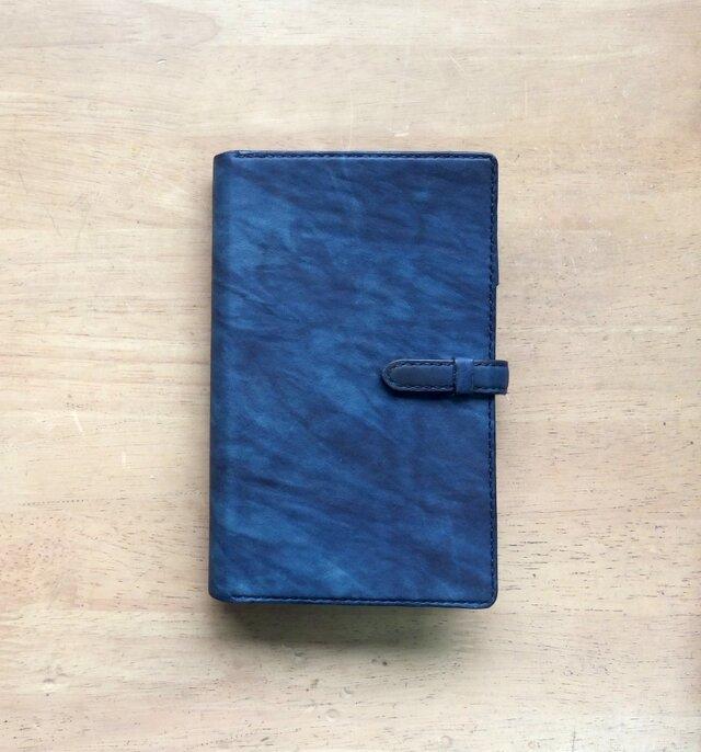 【受注生産】藍染レザーのシステム手帳《バイブルサイズ》の画像1枚目