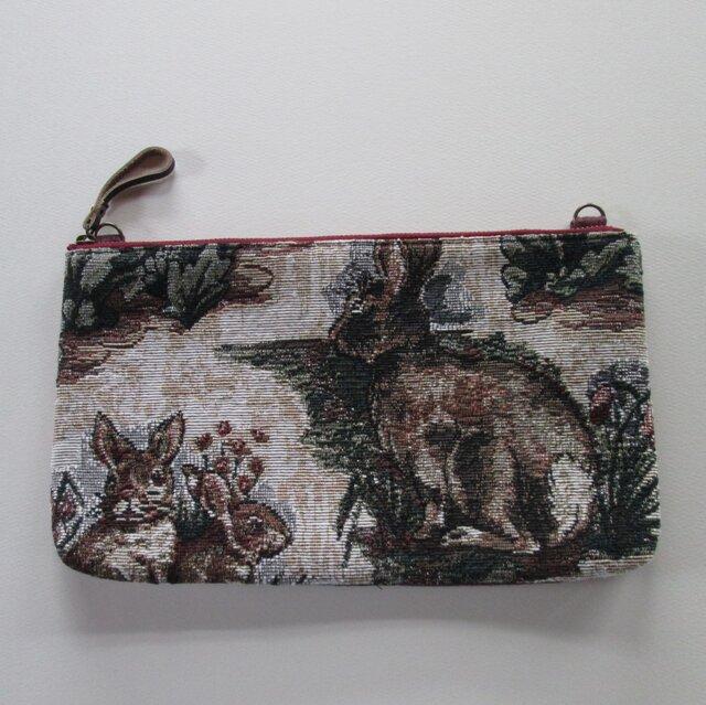 ゴブラン織りのウサギのポーチの画像1枚目
