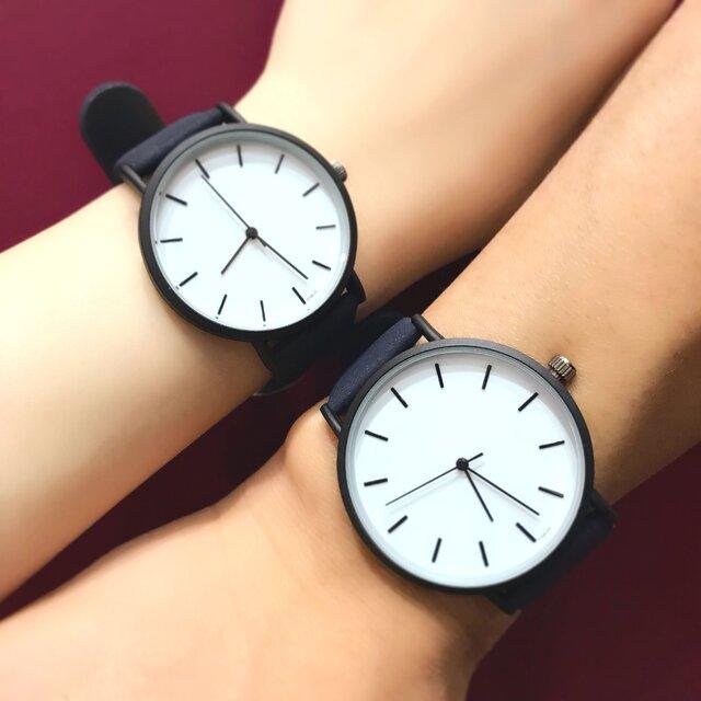 2size ネイビーペアウォッチ 上品シンプル腕時計 <j-0078>の画像1枚目