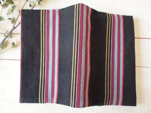 黒とマルチカラー(裏えんじ) 着物の木綿からブックカバーの画像1枚目