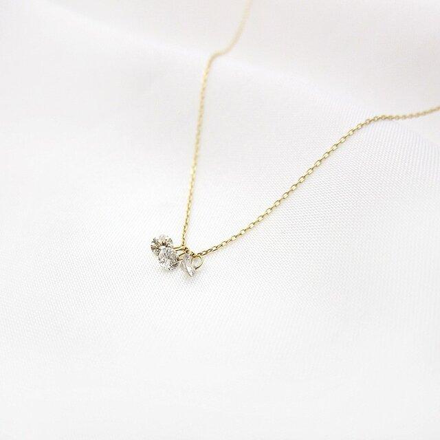 【再販】シンデレラ ダイヤ0.2ct3pネックレス K18/K10の画像1枚目