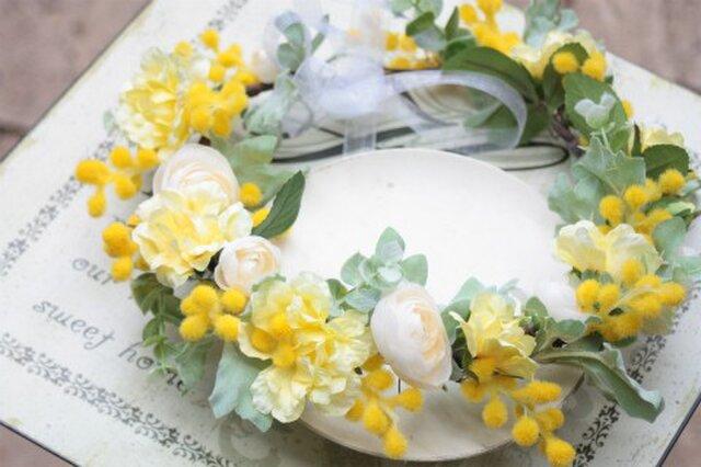 幸せの黄色い花冠☆ミモザの画像1枚目