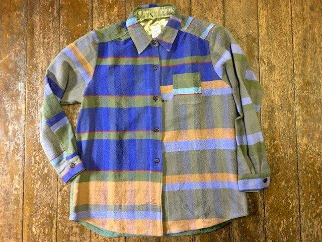 さをり織り素敵青色系 シャツ ジャケット 送料無料の画像1枚目