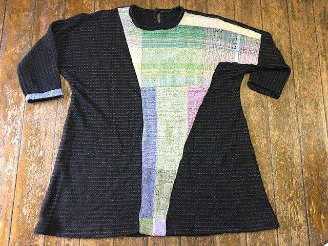 さをり織り+柔らかいジャージ布チュニック丈ワンピー 送料無料の画像1枚目