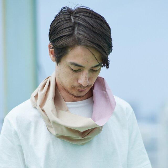 てぬぐい Oo[ワオ]  Pink × Beige 【Lサイズ】の画像1枚目