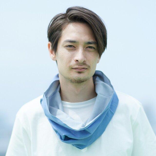 てぬぐい Oo[ワオ]  Blue × Gray 【Lサイズ】の画像1枚目