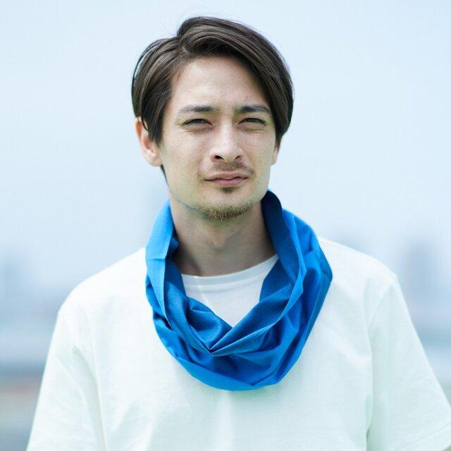 てぬぐい Oo[ワオ]  Blue × Blue 【Lサイズ】の画像1枚目