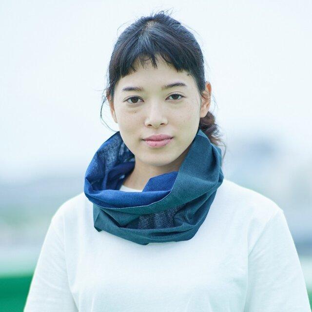 てぬぐい Oo[ワオ] Blue × Green【Sサイズ】の画像1枚目