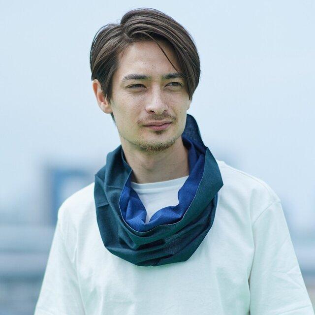 てぬぐい Oo[ワオ]  Blue × Green【Lサイズ】の画像1枚目