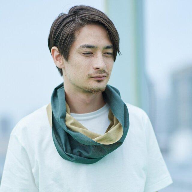 てぬぐい Oo[ワオ]  Green × Khaki【Lサイズ】の画像1枚目