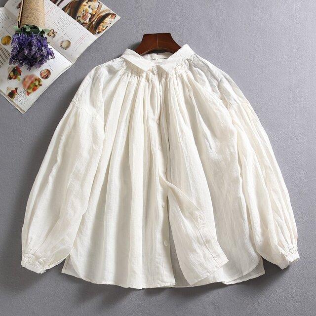 f8010202 着回しの一枚になれる 麻のシャツ 麻100% 長袖 ホワイトの画像1枚目