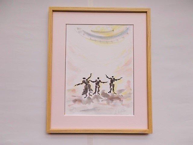 絵画 インテリア 額絵 墨と水彩のコラボ画 sing  a songの画像1枚目