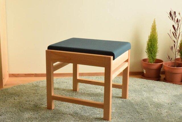 ヒノキのベンチ|スツール 座面の帆布 濃グリーン色の画像1枚目