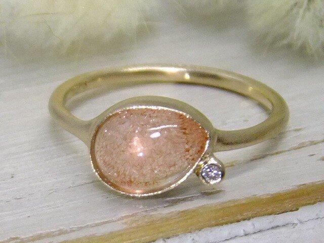 ストロベリーにダイヤを添えて*K14lunapinkgoldリングの画像1枚目