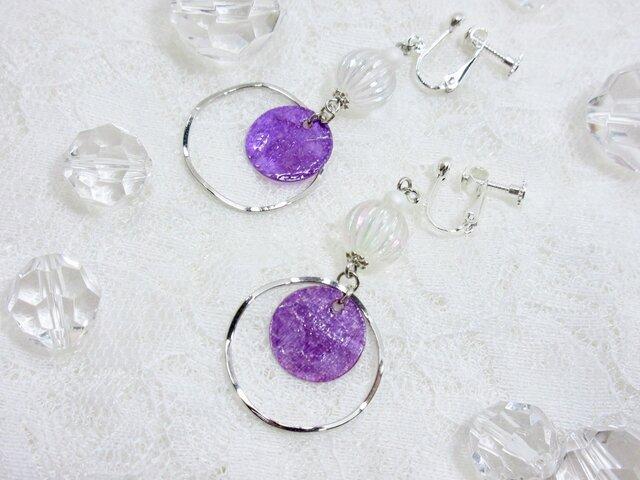 【1点のみ】紫シェル(貝)のシンプルイヤリングの画像1枚目