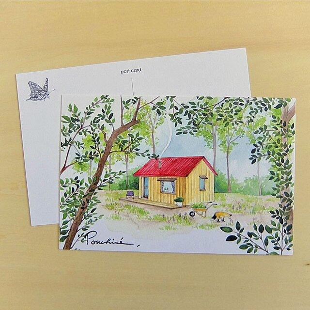 ポストカード 赤い屋根の家の画像1枚目