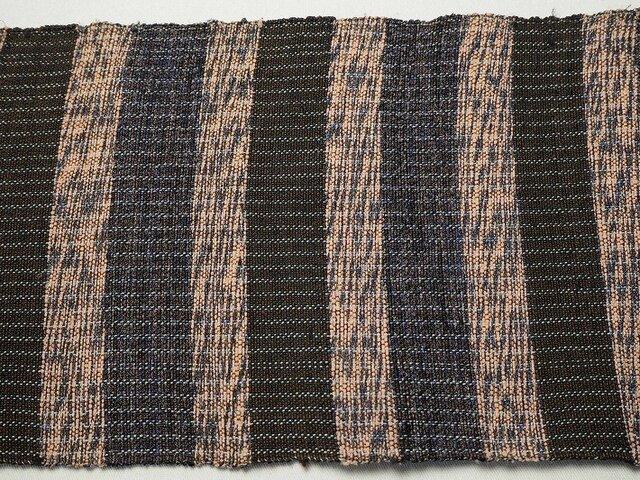 sk0033 カラフル裂き織り帯33☆茶系☆古布古裂/木綿/筒描き/型染め/藍染/絹/ボロ襤褸の画像1枚目
